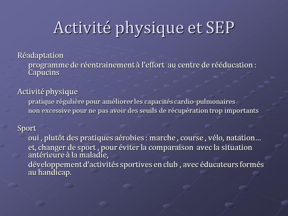 Activité physique et SEP Réadaptation programme de réentrainement à leffort au centre de rééducation : Capucins Activité physique pratique régulière p