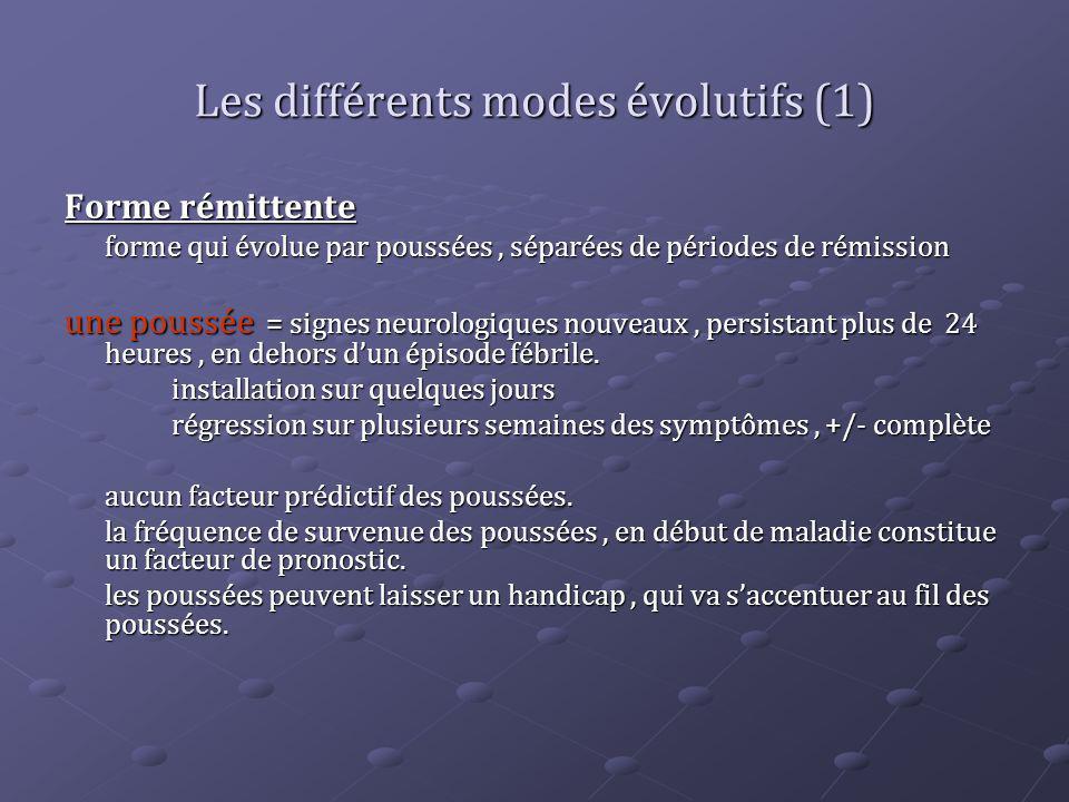 Les différents modes évolutifs (1) Forme rémittente forme qui évolue par poussées, séparées de périodes de rémission une poussée = signes neurologique