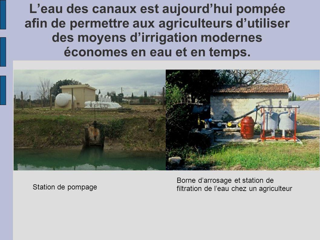 Leau des canaux est aujourdhui pompée afin de permettre aux agriculteurs dutiliser des moyens dirrigation modernes économes en eau et en temps. Statio