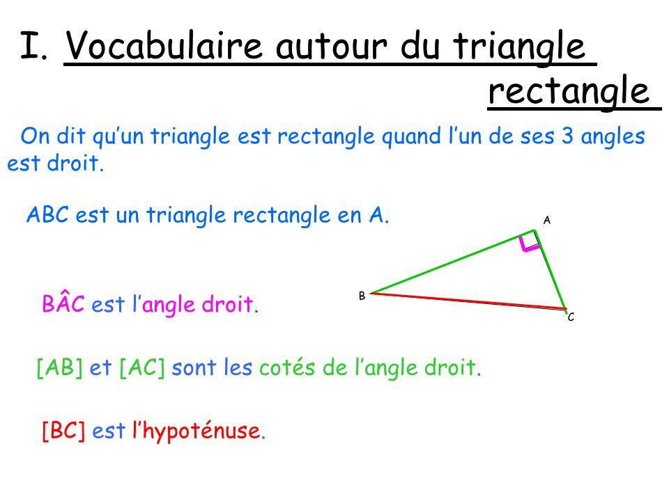 I.Vocabulaire autour du triangle rectangle On dit quun triangle est rectangle quand lun de ses 3 angles est droit.