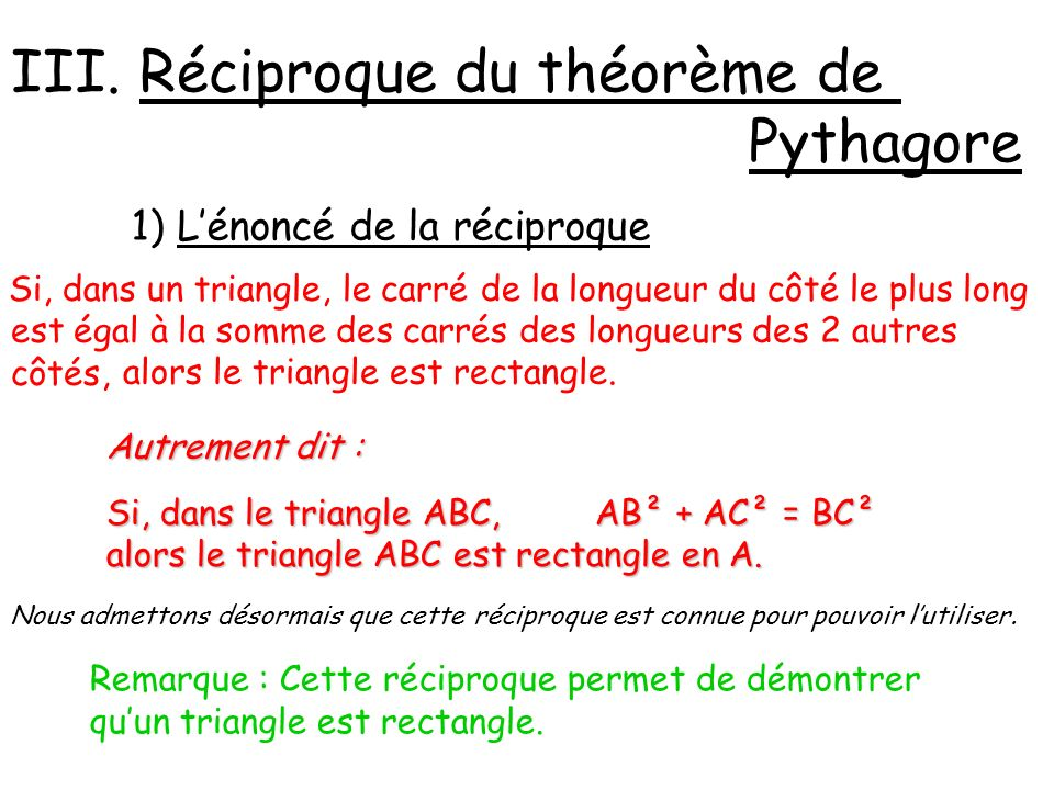 2) Démontrer quun triangle est rectangle ABC est un triangle tel que AB = 5 cm, AC = 12 cm et BC = 13cm.
