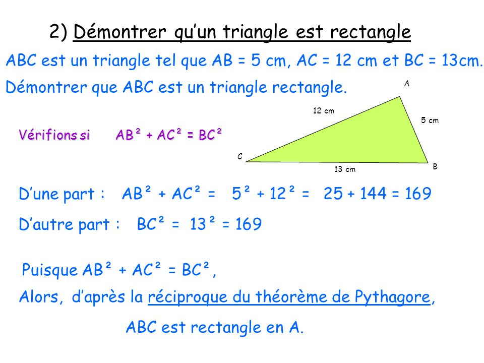 3) Démontrer quun triangle nest pas rectangle MNP est un triangle tel que MN = 4 cm, NP = 8 cm et PM = 9 cm.