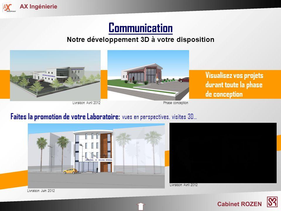 Communication Notre développement 3D à votre disposition Visualisez vos projets durant toute la phase de conception Faites la promotion de votre Labor