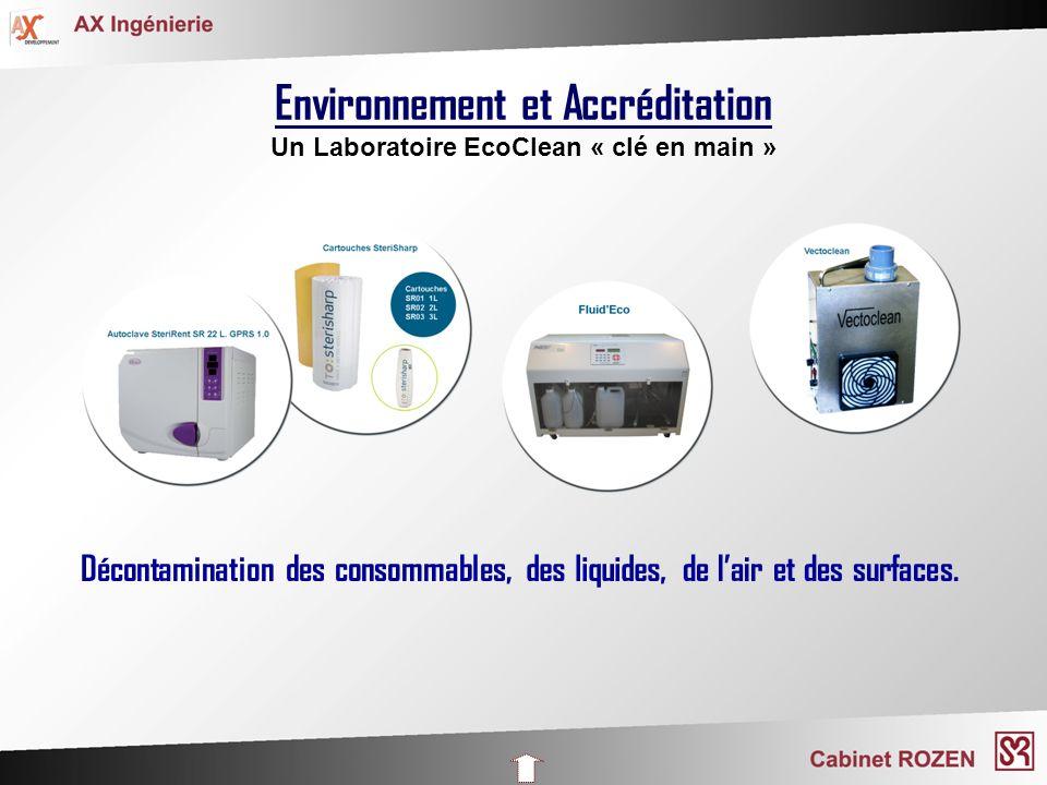 Environnement et Accréditation Un Laboratoire EcoClean « clé en main » Décontamination des consommables,des liquides,de lair et des surfaces.
