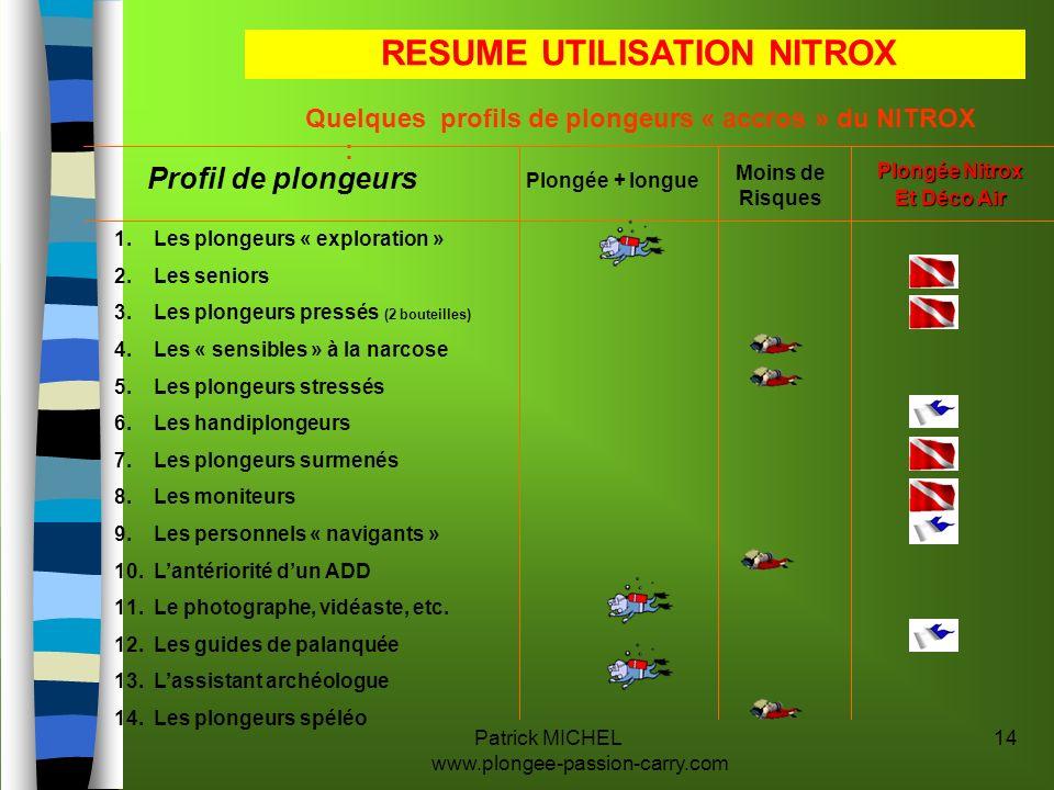 Patrick MICHEL www.plongee-passion-carry.com 14 Quelques profils de plongeurs « accros » du NITROX : Profil de plongeurs Moins de Risques Plongée + lo