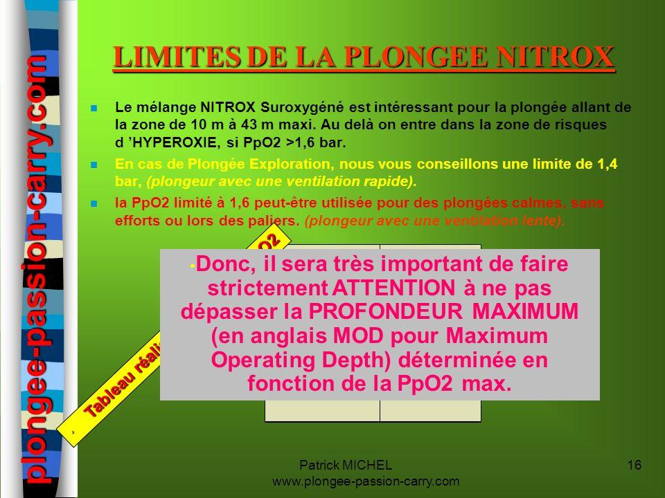 Patrick MICHEL www.plongee-passion-carry.com 16 LIMITES DE LA PLONGEE NITROX n Le mélange NITROX Suroxygéné est intéressant pour la plongée allant de
