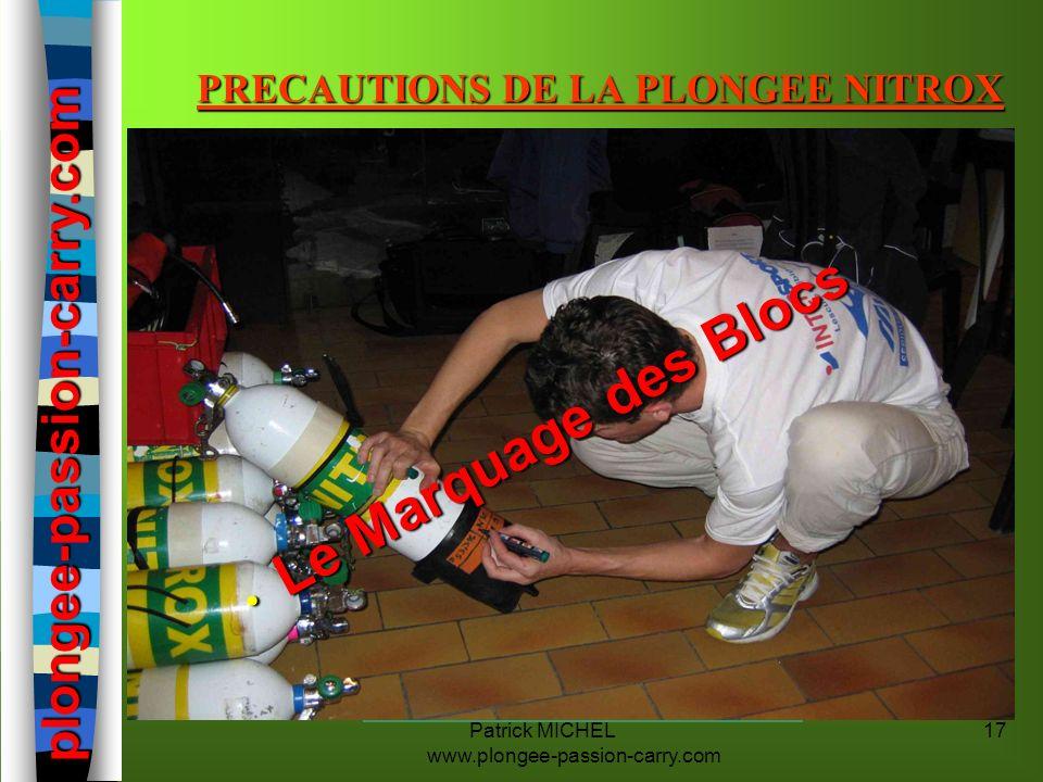 Patrick MICHEL www.plongee-passion-carry.com 17 PRECAUTIONS DE LA PLONGEE NITROX n Le texte règlementant « la Plongée aux Mélanges », précise quil est