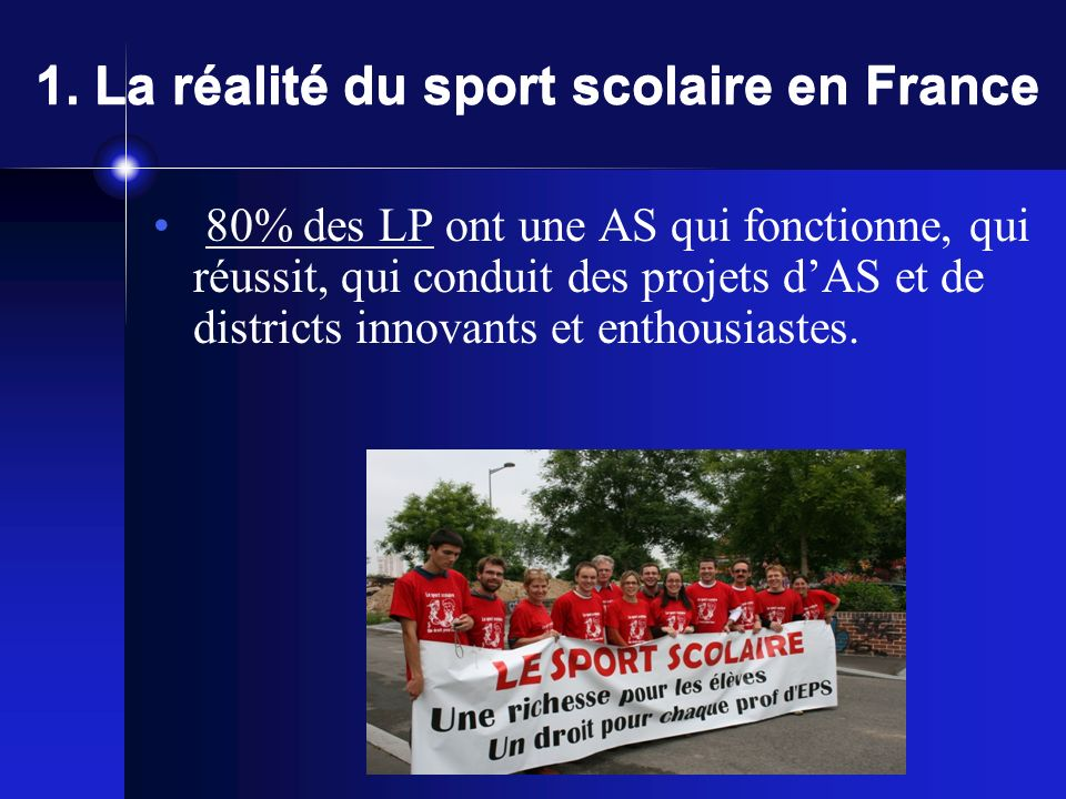 1. La réalité du sport scolaire en France Les pratiques: Sports collectifs: 39.70% Sport individuels: 19.26 % Sports de raquette: 17.49 % Les effets E