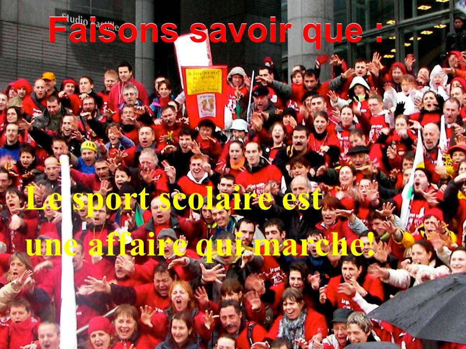 1. La réalité du sport scolaire en France 3.24 % AS en difficulté.