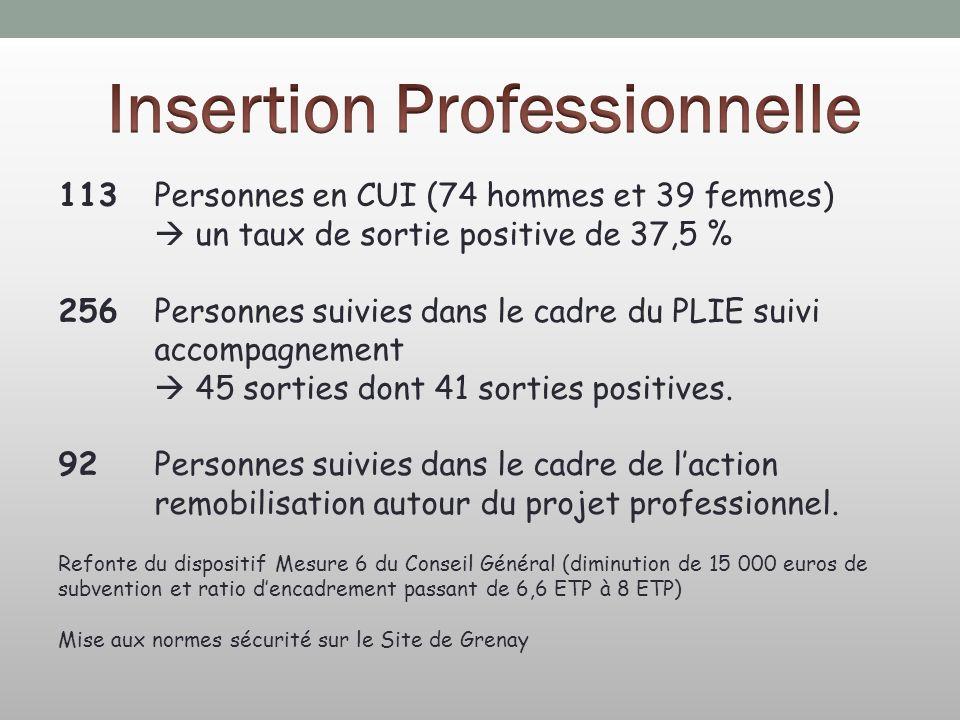 113 Personnes en CUI (74 hommes et 39 femmes) un taux de sortie positive de 37,5 % 256Personnes suivies dans le cadre du PLIE suivi accompagnement 45 sorties dont 41 sorties positives.