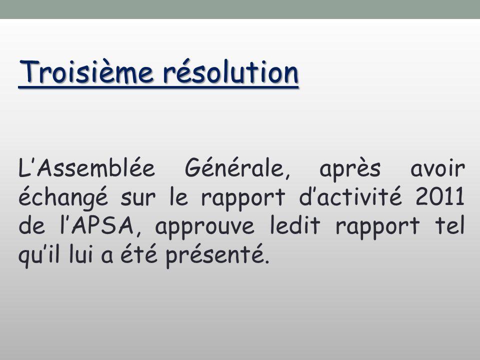Troisième résolution LAssemblée Générale, après avoir échangé sur le rapport dactivité 2011 de lAPSA, approuve ledit rapport tel quil lui a été présen