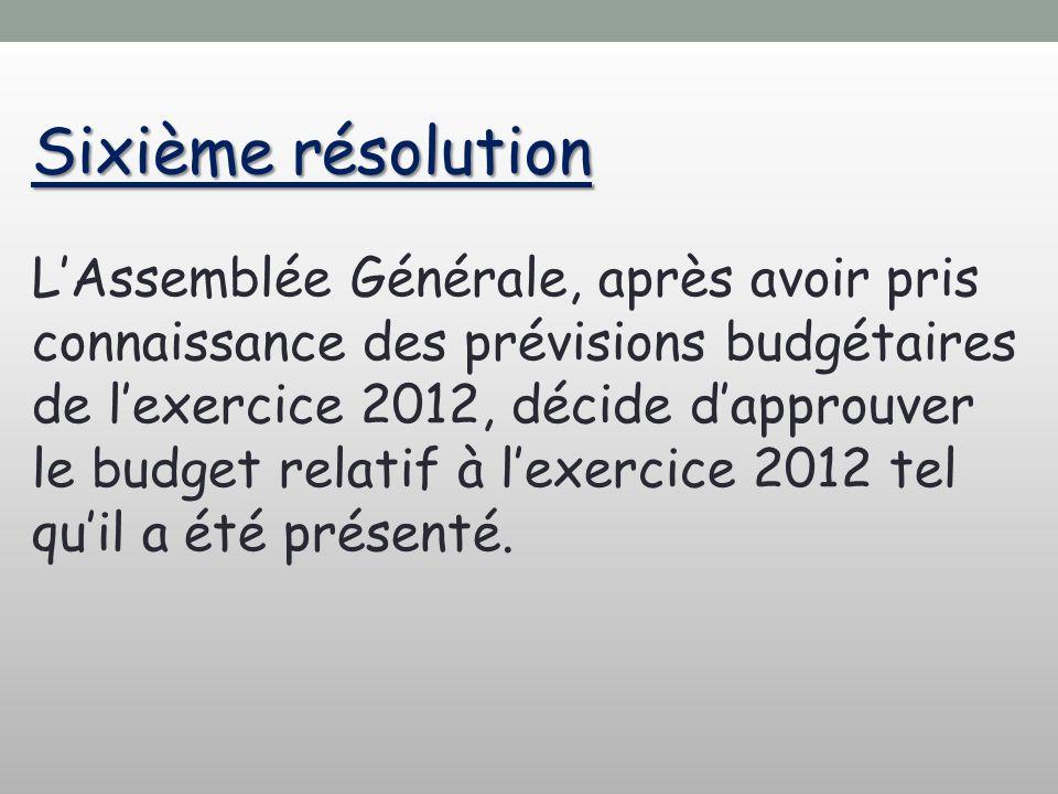 Sixième résolution LAssemblée Générale, après avoir pris connaissance des prévisions budgétaires de lexercice 2012, décide dapprouver le budget relatif à lexercice 2012 tel quil a été présenté.