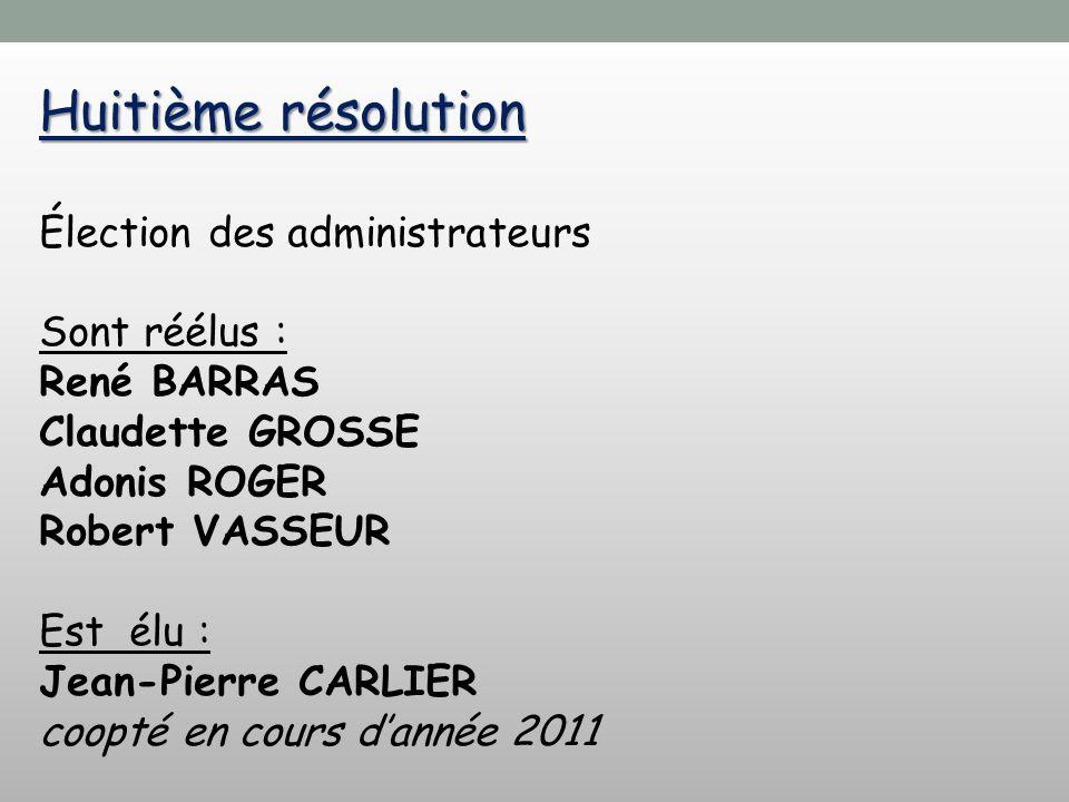 Huitième résolution Élection des administrateurs Sont réélus : René BARRAS Claudette GROSSE Adonis ROGER Robert VASSEUR Est élu : Jean-Pierre CARLIER