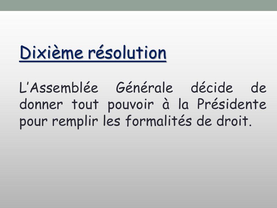Dixième résolution LAssemblée Générale décide de donner tout pouvoir à la Présidente pour remplir les formalités de droit.
