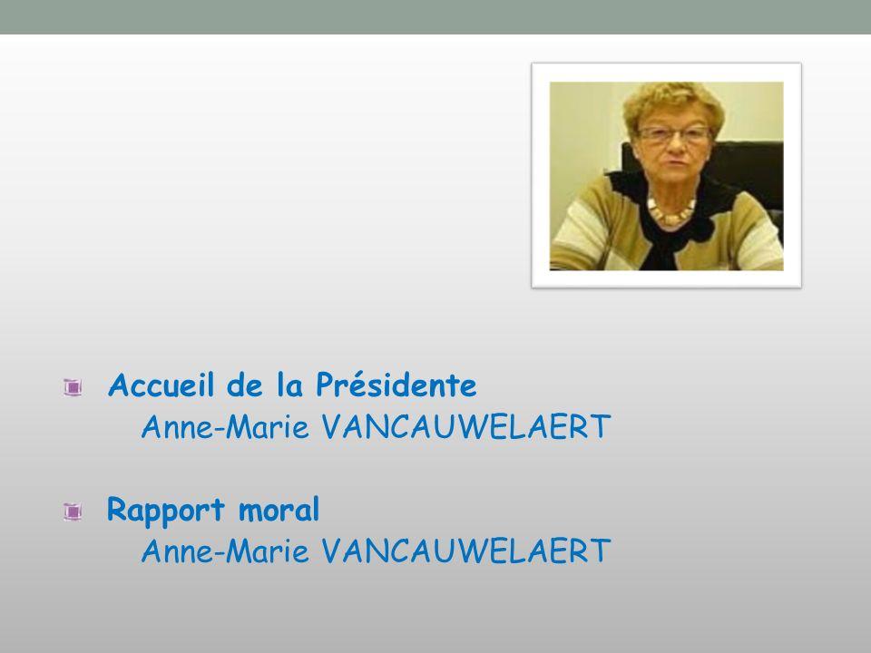 Accueil de la Présidente Anne-Marie VANCAUWELAERT Rapport moral Anne-Marie VANCAUWELAERT