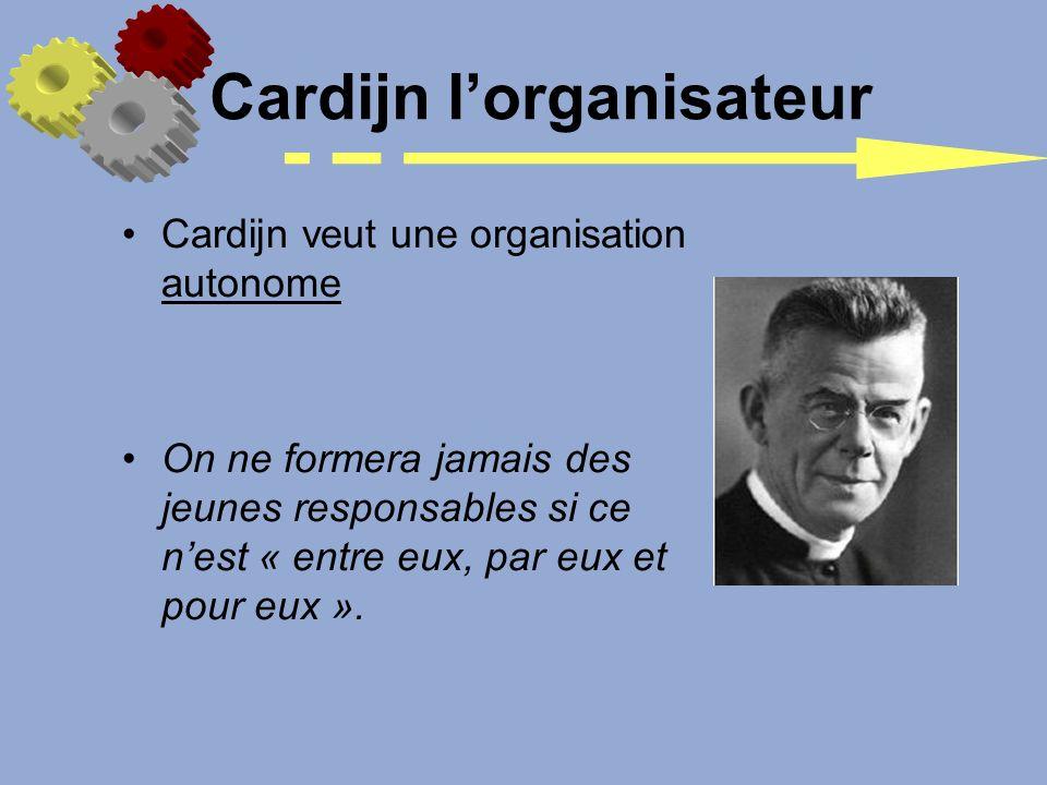 Cardijn lorganisateur Cardijn veut une organisation autonome On ne formera jamais des jeunes responsables si ce nest « entre eux, par eux et pour eux