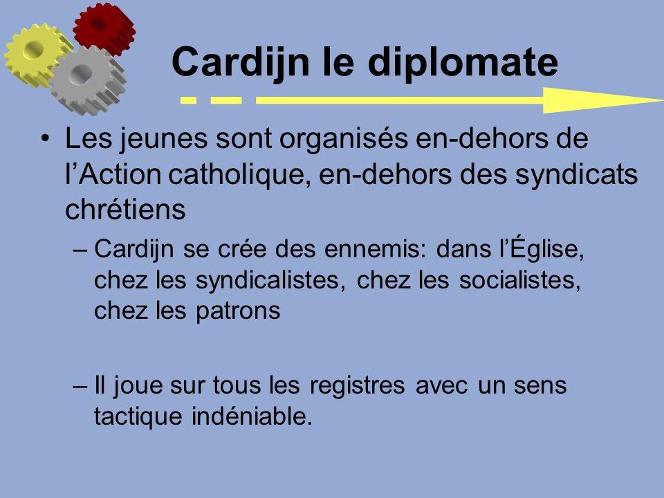 Les jeunes sont organisés en-dehors de lAction catholique, en-dehors des syndicats chrétiens –Cardijn se crée des ennemis: dans lÉglise, chez les synd