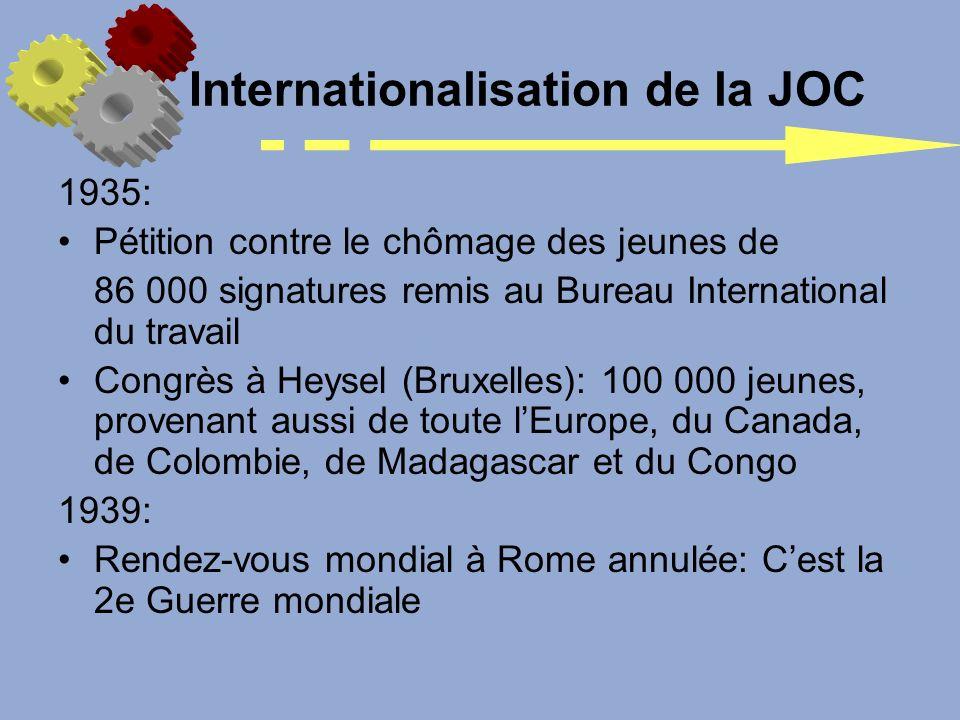 Internationalisation de la JOC 1935: Pétition contre le chômage des jeunes de 86 000 signatures remis au Bureau International du travail Congrès à Hey