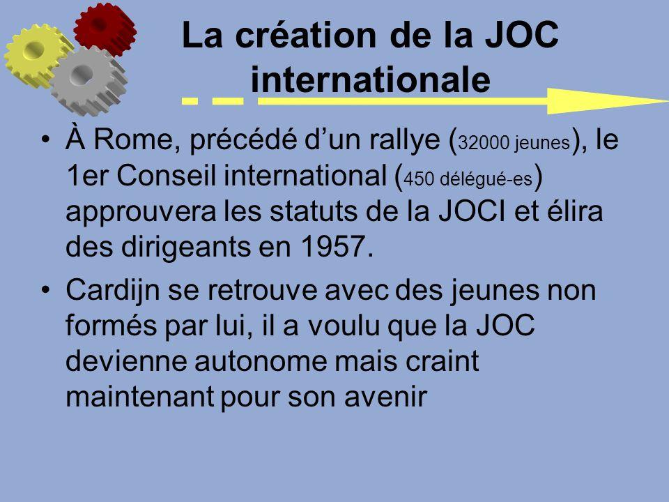 La création de la JOC internationale À Rome, précédé dun rallye ( 32000 jeunes ), le 1er Conseil international ( 450 délégué-es ) approuvera les statu