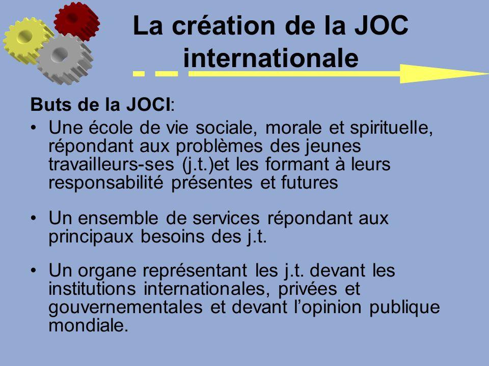Buts de la JOCI: Une école de vie sociale, morale et spirituelle, répondant aux problèmes des jeunes travailleurs-ses (j.t.)et les formant à leurs res