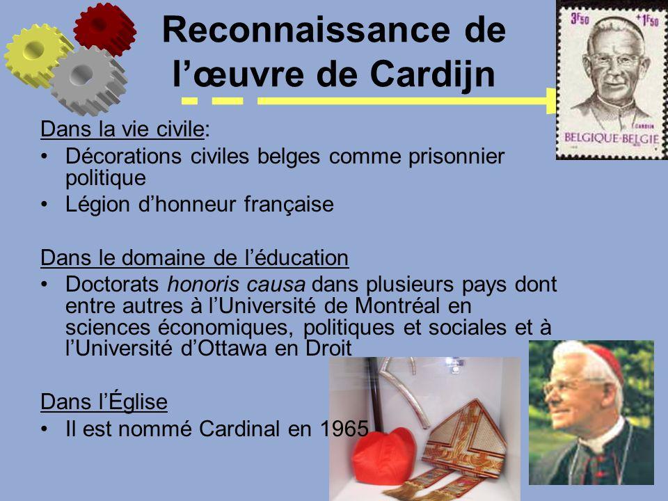 Reconnaissance de lœuvre de Cardijn Dans la vie civile: Décorations civiles belges comme prisonnier politique Légion dhonneur française Dans le domain