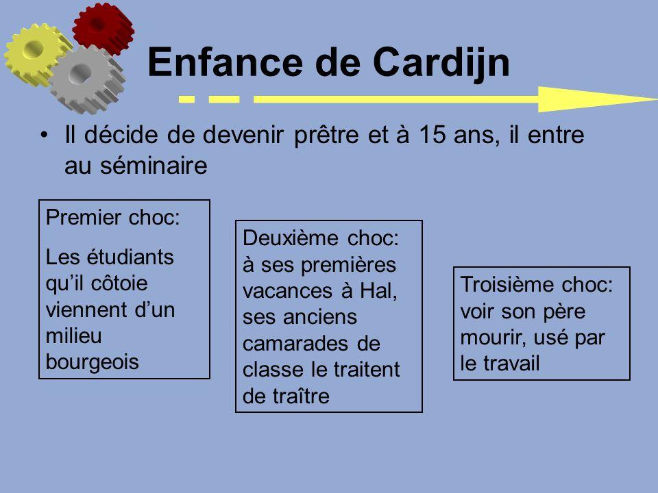 Il décide de devenir prêtre et à 15 ans, il entre au séminaire Enfance de Cardijn Premier choc: Les étudiants quil côtoie viennent dun milieu bourgeoi