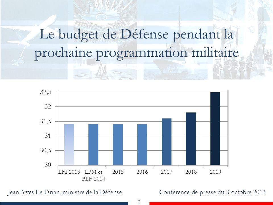 Jean-Yves Le Drian, ministre de la Défense Conférence de presse du 3 octobre 2013 2 Le budget de Défense pendant la prochaine programmation militaire