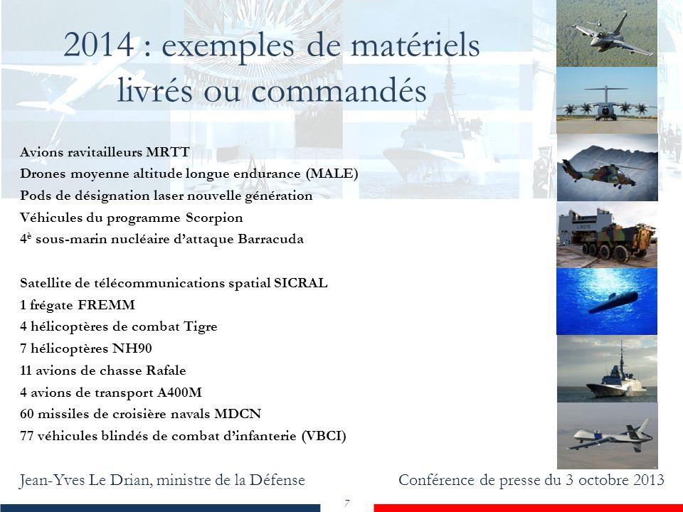 Jean-Yves Le Drian, ministre de la Défense Conférence de presse du 3 octobre 2013 7 2014 : exemples de matériels livrés ou commandés Avions ravitaille