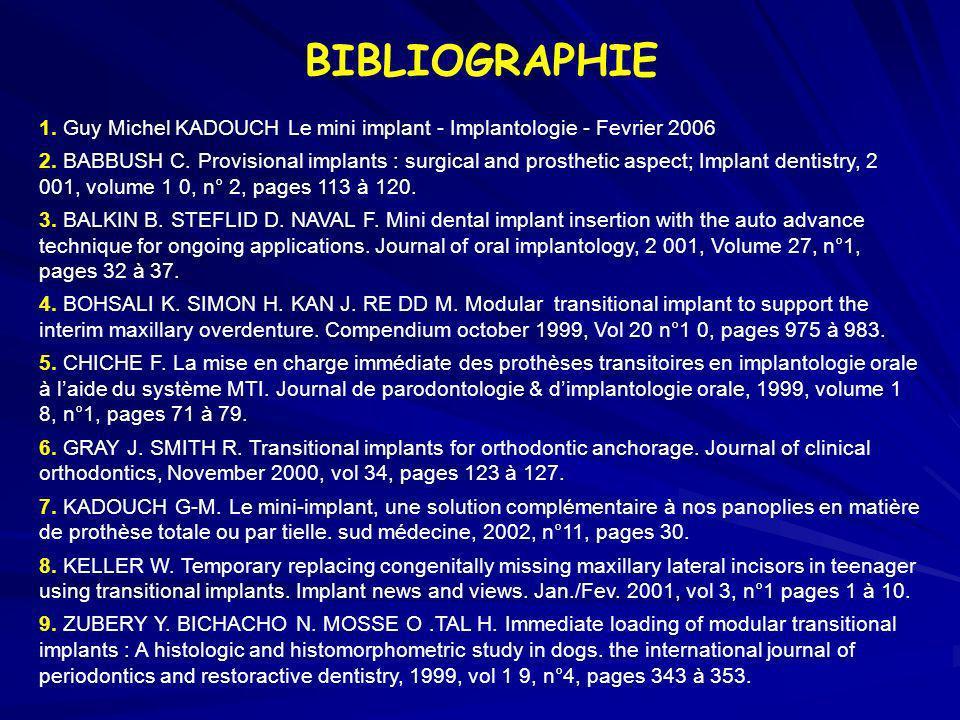BIBLIOGRAPHIE 1. Guy Michel KADOUCH Le mini implant - Implantologie - Fevrier 2006 2. BABBUSH C. Provisional implants : surgical and prosthetic aspect