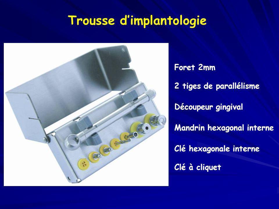 Trousse dimplantologie Foret 2mm 2 tiges de parallélisme Découpeur gingival Mandrin hexagonal interne Clé hexagonale interne Clé à cliquet