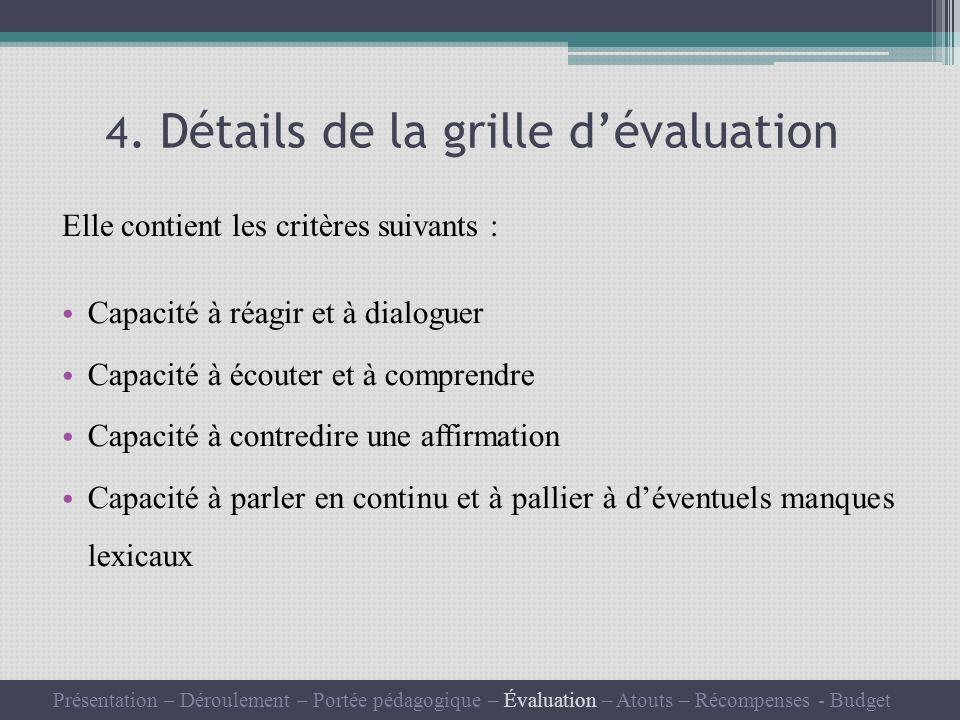4. Détails de la grille dévaluation Elle contient les critères suivants : Capacité à réagir et à dialoguer Capacité à écouter et à comprendre Capacité