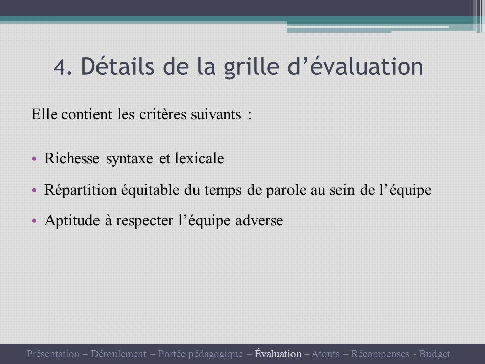 4. Détails de la grille dévaluation Elle contient les critères suivants : Richesse syntaxe et lexicale Répartition équitable du temps de parole au sei