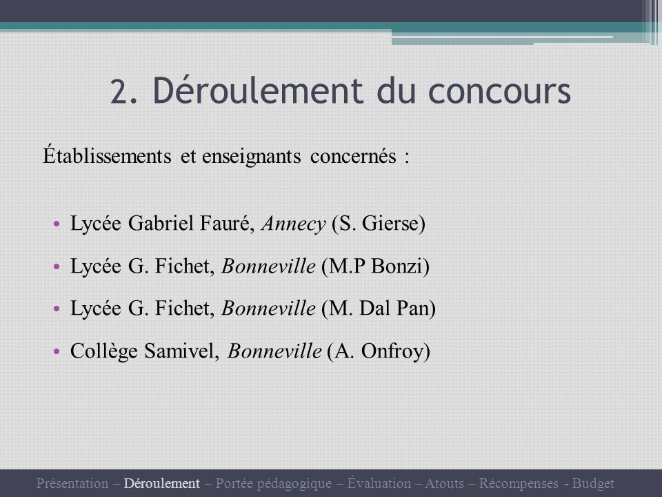 2. Déroulement du concours Lycée Gabriel Fauré, Annecy (S.