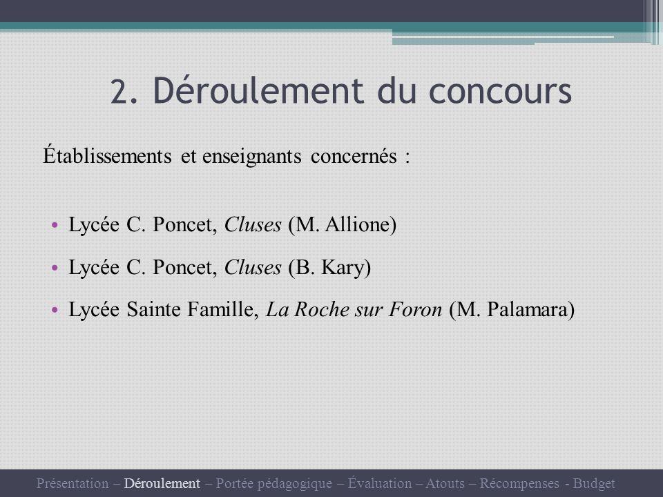 2.Déroulement du concours Lycée C. Poncet, Cluses (M.