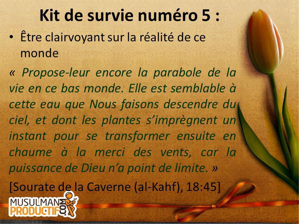 Kit de survie numéro 5 : Être clairvoyant sur la réalité de ce monde « Propose-leur encore la parabole de la vie en ce bas monde. Elle est semblable à