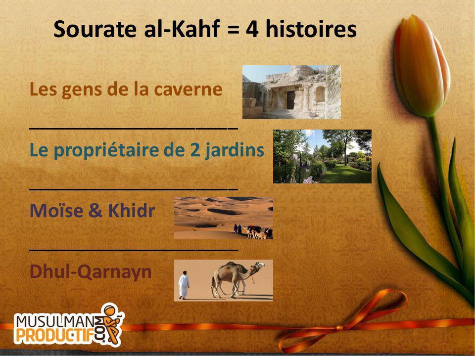 Sourate al-Kahf = 4 histoires Les gens de la caverne ____________________ Le propriétaire de 2 jardins ____________________ Moïse & Khidr ____________