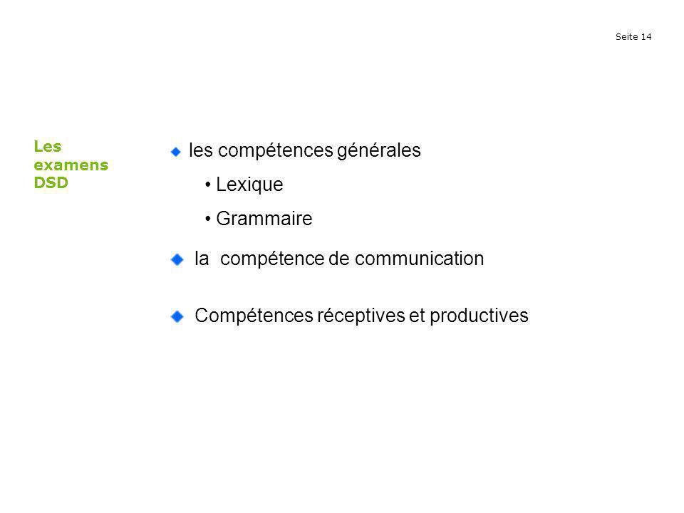 Seite 14 les compétences générales Lexique Grammaire la compétence de communication Compétences réceptives et productives Les examens DSD