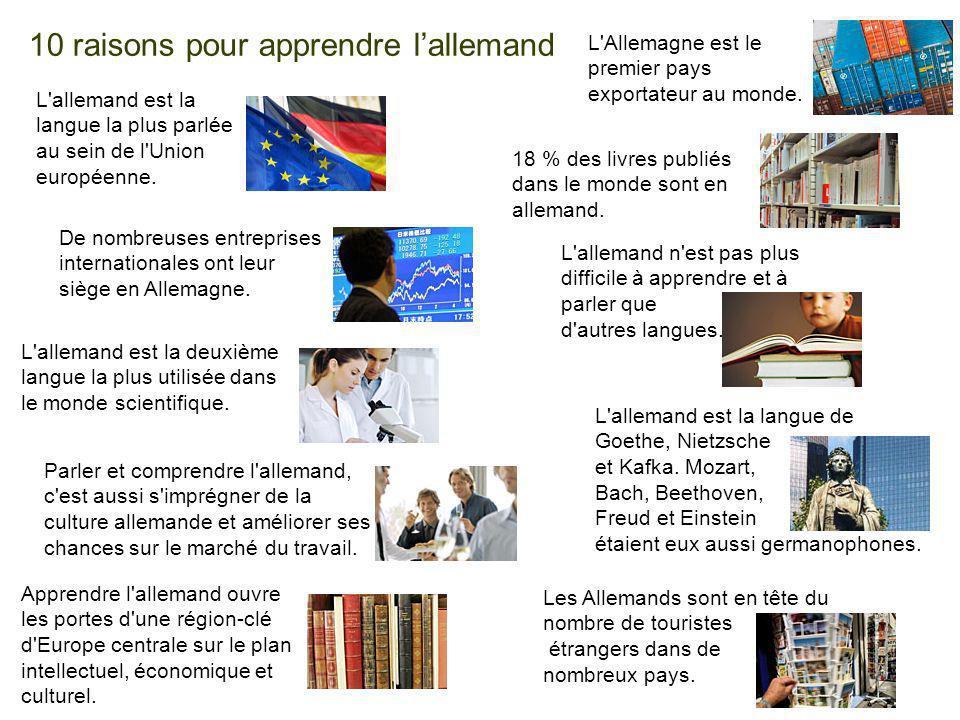 Seite 20 10 raisons pour apprendre lallemand L'allemand est la langue la plus parlée au sein de l'Union européenne. 18 % des livres publiés dans le mo