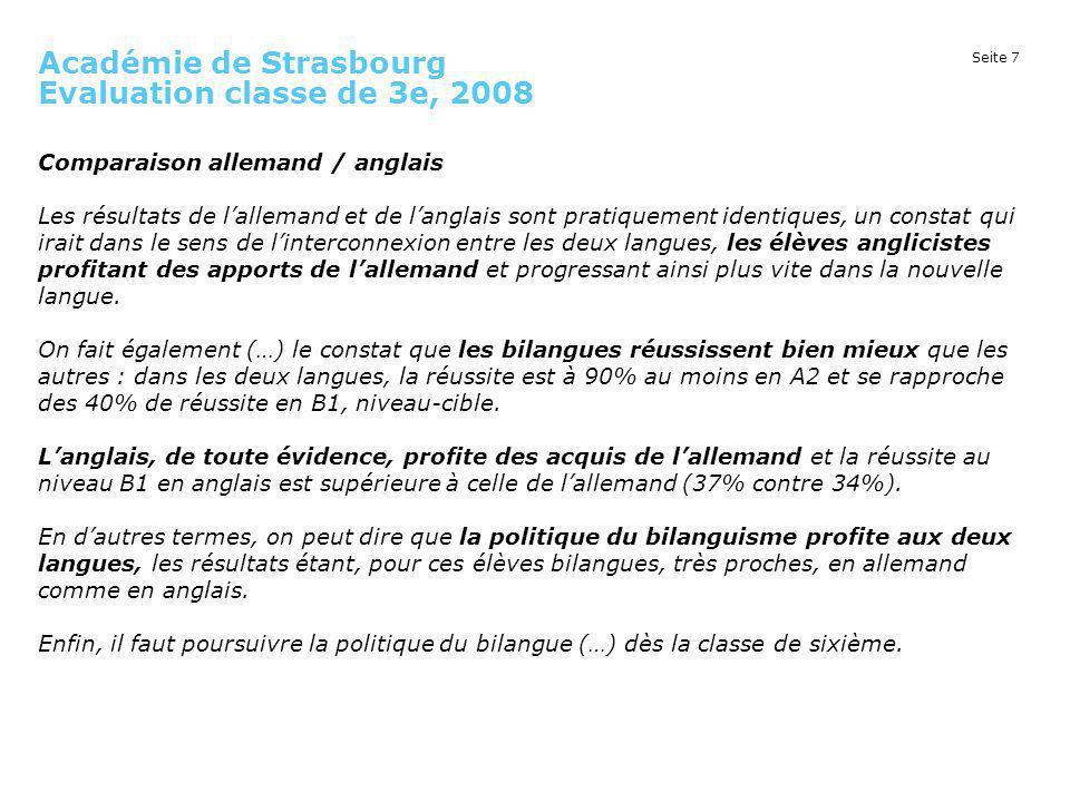 Seite 7 Académie de Strasbourg Evaluation classe de 3e, 2008 Comparaison allemand / anglais Les résultats de lallemand et de langlais sont pratiquemen