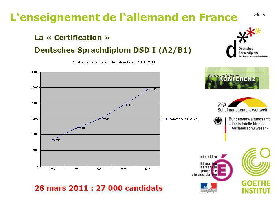 Seite 8 Lenseignement de lallemand en France La « Certification » Deutsches Sprachdiplom DSD I (A2/B1) 28 mars 2011 : 27 000 candidats