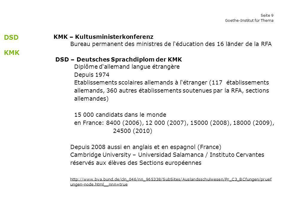 Seite 9 Goethe-Institut für Thema KMK – Kultusministerkonferenz Bureau permanent des ministres de léducation des 16 länder de la RFA DSD – Deutsches S
