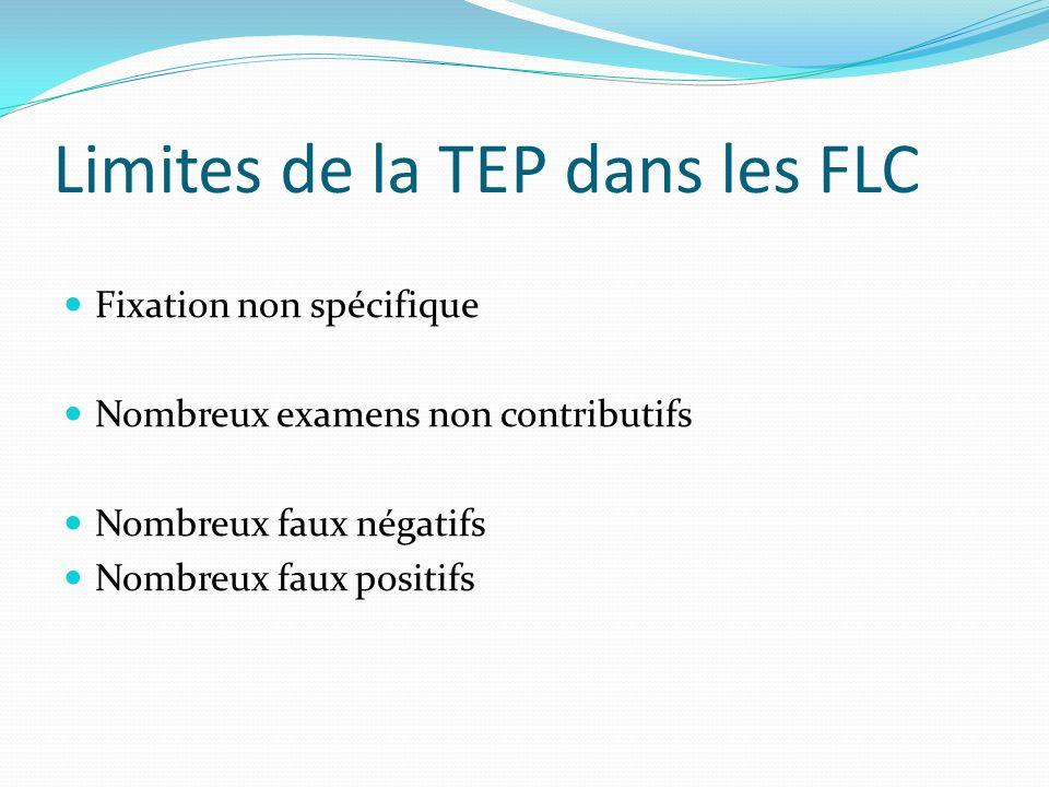 Limites de la TEP dans les FLC Fixation non spécifique Nombreux examens non contributifs Nombreux faux négatifs Nombreux faux positifs