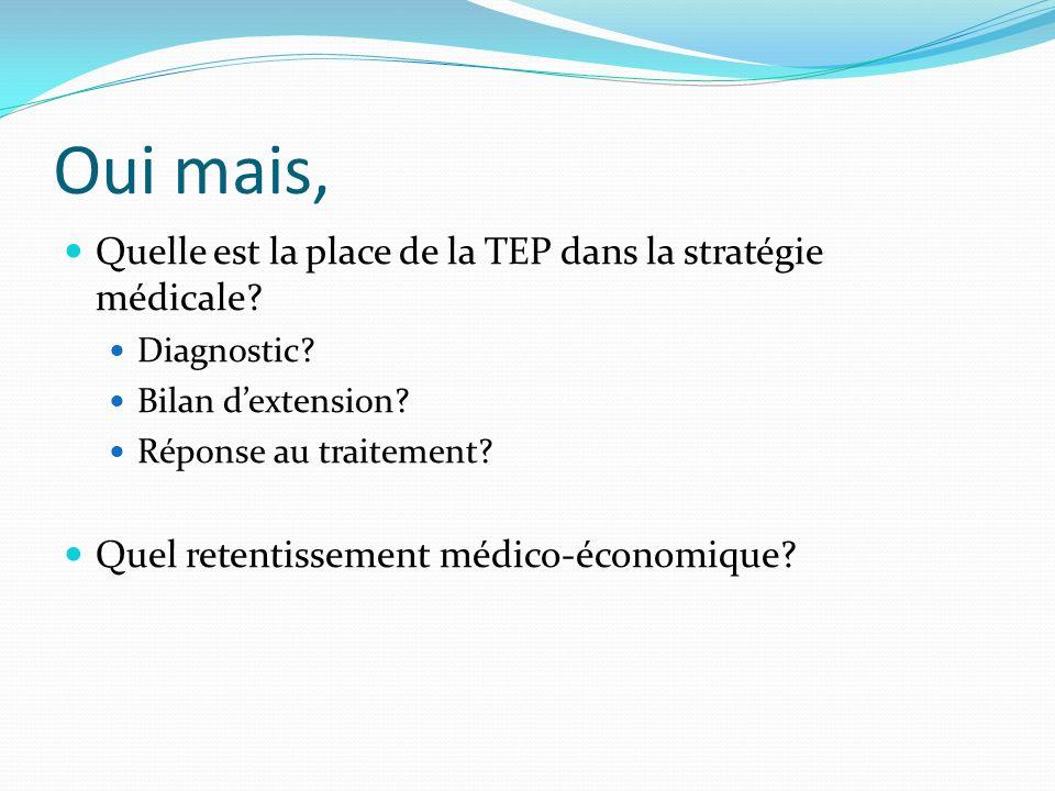 Oui mais, Quelle est la place de la TEP dans la stratégie médicale? Diagnostic? Bilan dextension? Réponse au traitement? Quel retentissement médico-éc