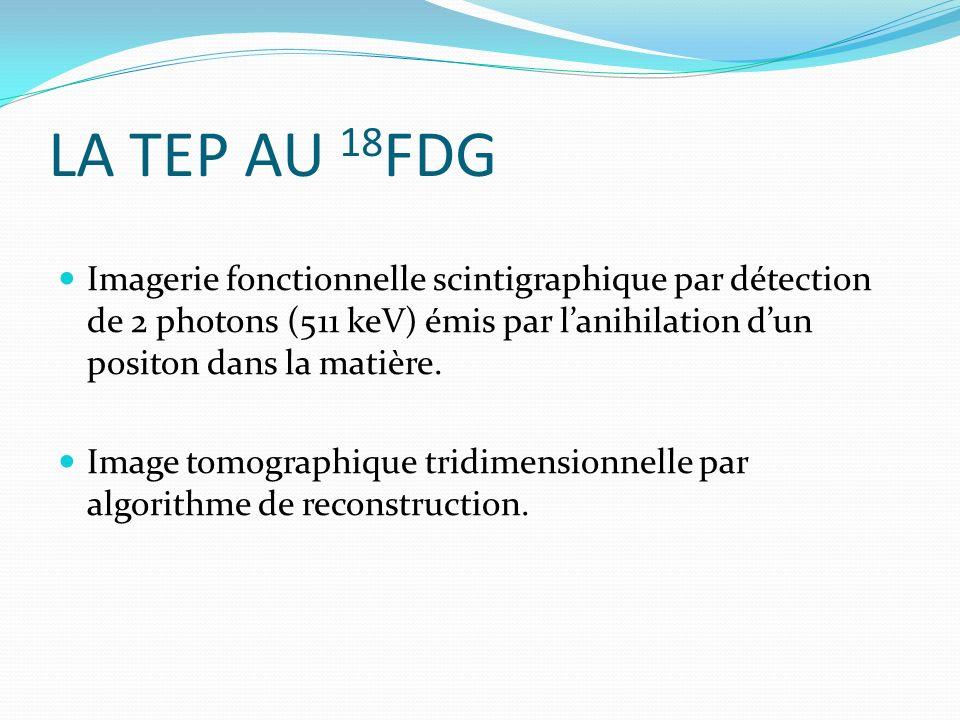 LA TEP AU 18 FDG Imagerie fonctionnelle scintigraphique par détection de 2 photons (511 keV) émis par lanihilation dun positon dans la matière. Image