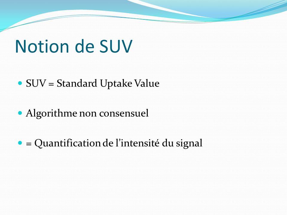 Notion de SUV SUV = Standard Uptake Value Algorithme non consensuel = Quantification de lintensité du signal