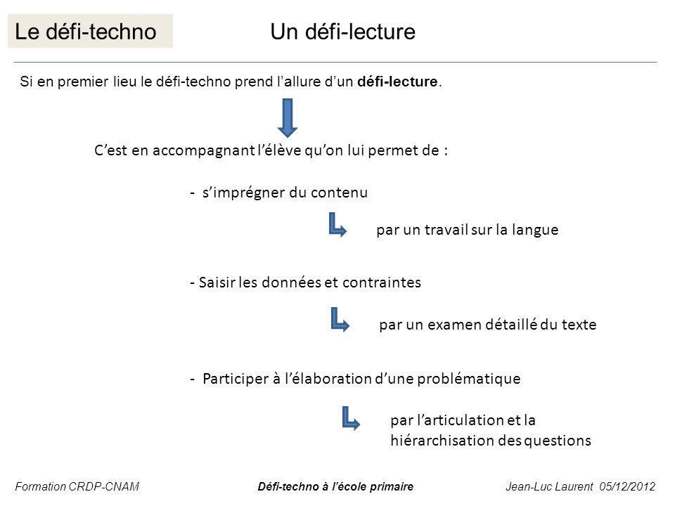 Le défi-techno Si en premier lieu le défi-techno prend lallure dun défi-lecture. Cest en accompagnant lélève quon lui permet de : - simprégner du cont