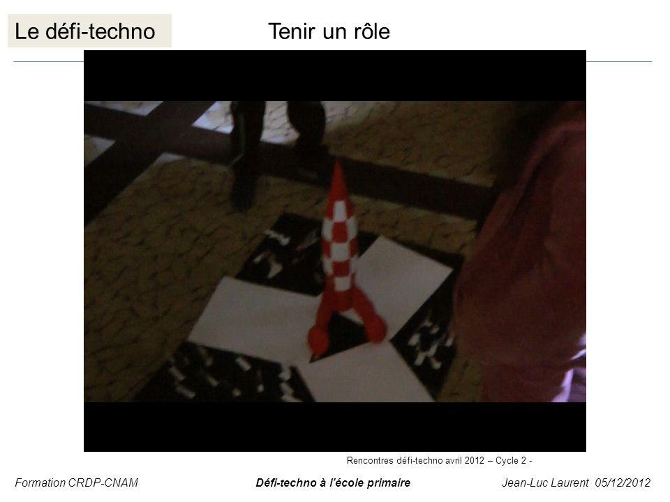 Le défi-technoTenir un rôle Formation CRDP-CNAM Défi-techno à lécole primaire Jean-Luc Laurent 05/12/2012 Rencontres défi-techno avril 2012 – Cycle 2