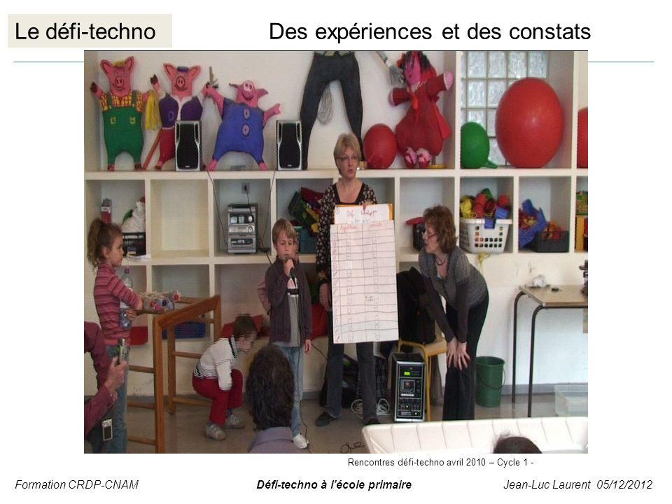 Le défi-technoDes expériences et des constats Formation CRDP-CNAM Défi-techno à lécole primaire Jean-Luc Laurent 05/12/2012 Rencontres défi-techno avr