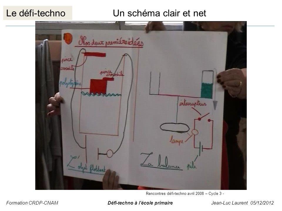 Le défi-technoUn schéma clair et net Formation CRDP-CNAM Défi-techno à lécole primaire Jean-Luc Laurent 05/12/2012 Rencontres défi-techno avril 2008 –