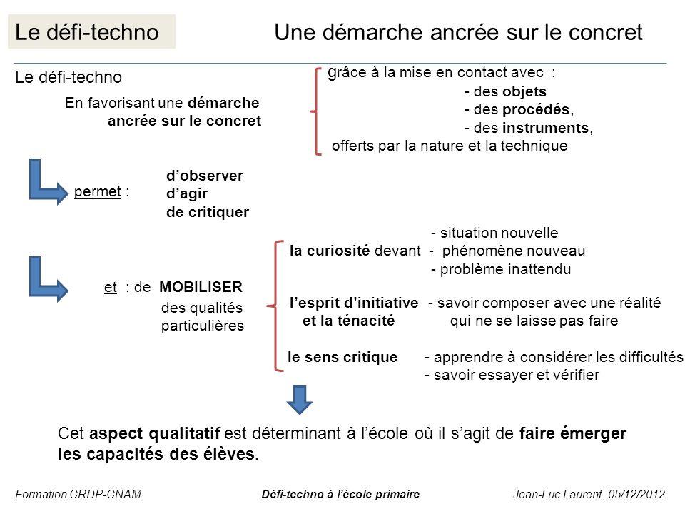 Le défi-technoUne démarche ancrée sur le concret Le défi-techno En favorisant une démarche ancrée sur le concret g râce à la mise en contact avec : -